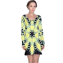 Yellow Snowflake Icon Graphic On Black Background Long Sleeve Nightdress