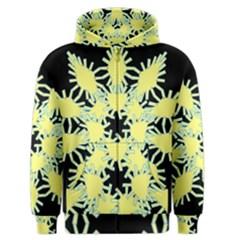 Yellow Snowflake Icon Graphic On Black Background Men s Zipper Hoodie