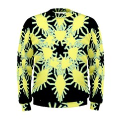 Yellow Snowflake Icon Graphic On Black Background Men s Sweatshirt