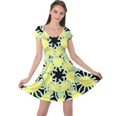 Yellow Snowflake Icon Graphic On Black Background Cap Sleeve Dresses