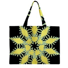 Yellow Snowflake Icon Graphic On Black Background Zipper Mini Tote Bag