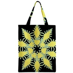 Yellow Snowflake Icon Graphic On Black Background Zipper Classic Tote Bag