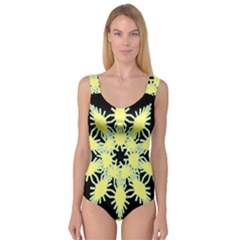 Yellow Snowflake Icon Graphic On Black Background Princess Tank Leotard