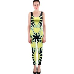 Yellow Snowflake Icon Graphic On Black Background OnePiece Catsuit