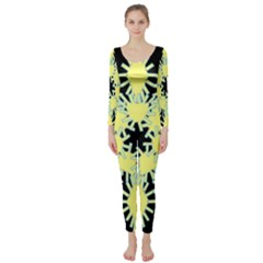 Yellow Snowflake Icon Graphic On Black Background Long Sleeve Catsuit