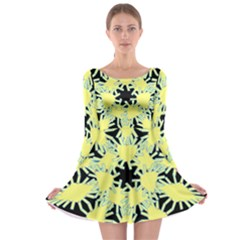 Yellow Snowflake Icon Graphic On Black Background Long Sleeve Skater Dress