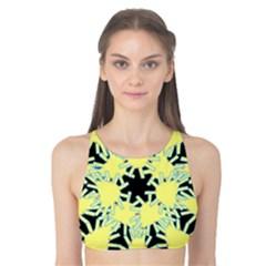 Yellow Snowflake Icon Graphic On Black Background Tank Bikini Top