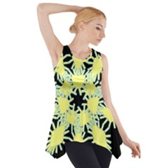 Yellow Snowflake Icon Graphic On Black Background Side Drop Tank Tunic