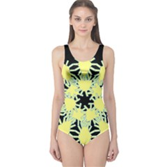 Yellow Snowflake Icon Graphic On Black Background One Piece Swimsuit