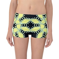 Yellow Snowflake Icon Graphic On Black Background Reversible Bikini Bottoms