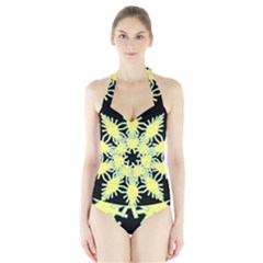Yellow Snowflake Icon Graphic On Black Background Halter Swimsuit