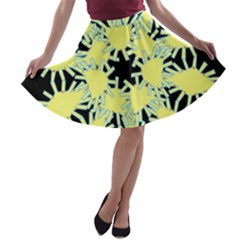 Yellow Snowflake Icon Graphic On Black Background A-line Skater Skirt