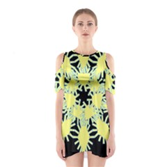 Yellow Snowflake Icon Graphic On Black Background Shoulder Cutout One Piece