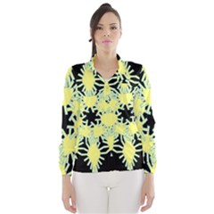 Yellow Snowflake Icon Graphic On Black Background Wind Breaker (Women)