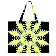 Yellow Snowflake Icon Graphic On Black Background Large Tote Bag