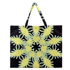 Yellow Snowflake Icon Graphic On Black Background Zipper Large Tote Bag