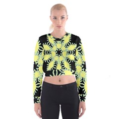 Yellow Snowflake Icon Graphic On Black Background Cropped Sweatshirt
