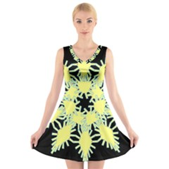Yellow Snowflake Icon Graphic On Black Background V Neck Sleeveless Skater Dress