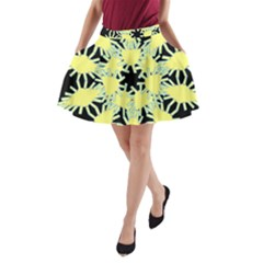 Yellow Snowflake Icon Graphic On Black Background A Line Pocket Skirt