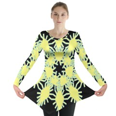 Yellow Snowflake Icon Graphic On Black Background Long Sleeve Tunic