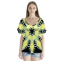 Yellow Snowflake Icon Graphic On Black Background Flutter Sleeve Top