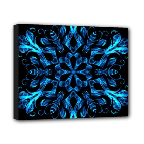 Blue Snowflake On Black Background Canvas 10  X 8