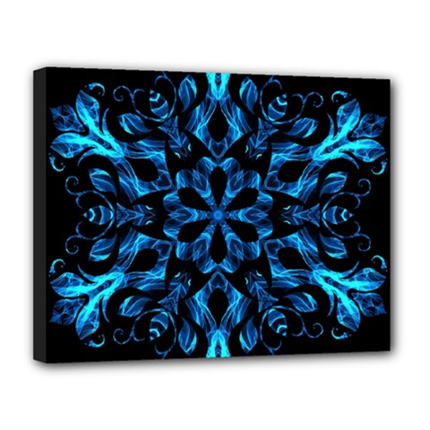 Blue Snowflake On Black Background Canvas 14  X 11