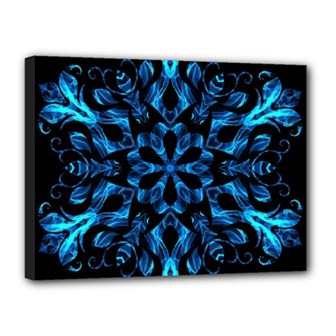 Blue Snowflake On Black Background Canvas 16  X 12