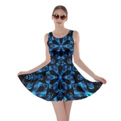Blue Snowflake On Black Background Skater Dress