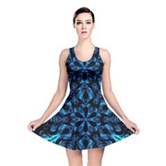 Blue Snowflake On Black Background Reversible Skater Dress