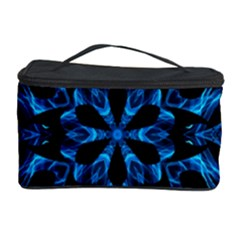 Blue Snowflake On Black Background Cosmetic Storage Case