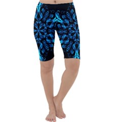 Blue Snowflake On Black Background Cropped Leggings