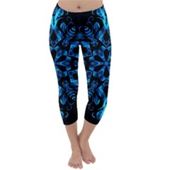 Blue Snowflake On Black Background Capri Winter Leggings