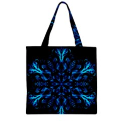 Blue Snowflake On Black Background Zipper Grocery Tote Bag