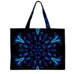 Blue Snowflake On Black Background Zipper Mini Tote Bag