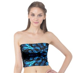Blue Snowflake On Black Background Tube Top