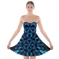 Blue Snowflake On Black Background Strapless Bra Top Dress
