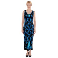 Blue Snowflake On Black Background Fitted Maxi Dress