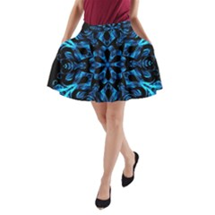 Blue Snowflake On Black Background A-Line Pocket Skirt