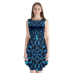 Blue Snowflake On Black Background Sleeveless Chiffon Dress