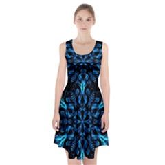 Blue Snowflake On Black Background Racerback Midi Dress