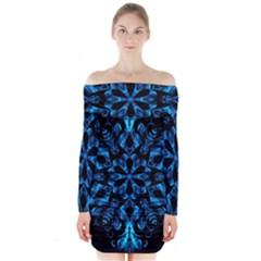 Blue Snowflake On Black Background Long Sleeve Off Shoulder Dress