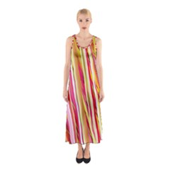 Color Ribbons Background Wallpaper Sleeveless Maxi Dress