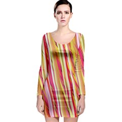 Color Ribbons Background Wallpaper Long Sleeve Bodycon Dress