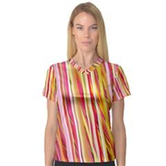 Color Ribbons Background Wallpaper Women s V Neck Sport Mesh Tee
