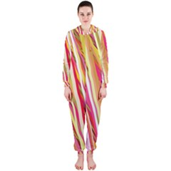 Color Ribbons Background Wallpaper Hooded Jumpsuit (ladies)