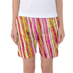 Color Ribbons Background Wallpaper Women s Basketball Shorts