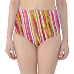 Color Ribbons Background Wallpaper High-Waist Bikini Bottoms