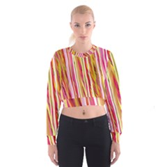 Color Ribbons Background Wallpaper Cropped Sweatshirt