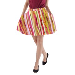 Color Ribbons Background Wallpaper A-Line Pocket Skirt
